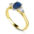 Image for Elegant Pear Blue Sapphire Diamond Trilogy Ring