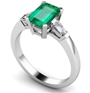 Emerald & Baguette Diamond Trilogy Ring