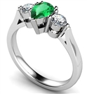 Image for Pear Emerald & Diamond Trilogy Ring