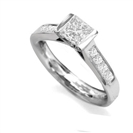 0.75CT VVS1/E Princess Diamond Shoulder Set Ring