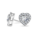 Image for Heart Diamond Single Halo Earrings