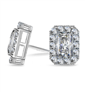 Image for Radiant Diamond Single Halo Earrings
