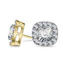 Image for Cushion Diamond Single Halo Earrings