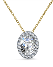Image for Oval Shaped Diamond Single Halo Pendant