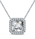 Image for Asscher Shaped Diamond Single Halo Pendant