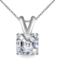 Image for Modern Asscher Diamond Solitaire Pendant