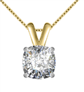 Image for Modern Cushion Diamond Solitaire Pendant