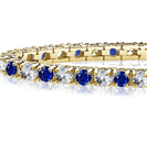 Image for Classic Single Row Blue Sapphire and Diamond Tennis Bracelet