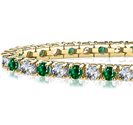 Image for Classic Single Row Emerald and Diamond Tennis Bracelet