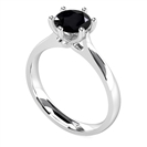 Round Black Diamond Solitaire Ring
