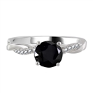 Round Black Diamond Shoulder Set Ring