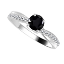 Image for Round Black Diamond Shoulder Set Ring