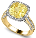 Image for Yellow Cushion Diamond Single Halo Ring