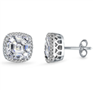 Image for Asscher Diamond Single Halo Earrings