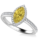 Fancy Yellow Marquise Diamond Single Halo Shoulder Set Ring