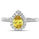 Image for Fancy Yellow Pear Diamond Single Halo Shoulder Set Ring