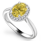 Image for Fancy Yellow Oval Diamond Single Halo Ring