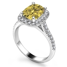 Image for Fancy Yellow Long Cushion Diamond Shoulder Set Ring