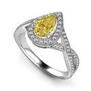 Image for Fancy Yellow Pear Diamond Single Halo Infinity Style Ring