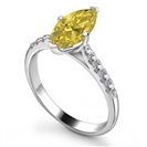 Fancy Yellow Marquise Diamond Shoulder Set Ring
