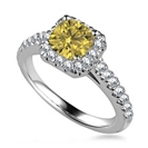 Image for Fancy Yellow Cushion Diamond Single Halo Shoulder Set Ring