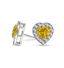 Image for Fancy Yellow Heart Diamond Halo Earrings