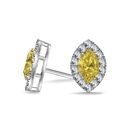 Fancy Yellow Marquise Diamond Halo Earrings