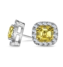 Image for Fancy Yellow Asscher Diamond Halo Earrings