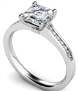 Image for Asccher Diamond Shoulder Set Ring