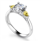 Image for Round Diamond & Yellow Sapphire Ring