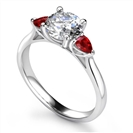 Image for Round Diamond & Ruby Trilogy Ring