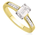 Image for Emerald/Princess Diamond Shoulder Set Ring