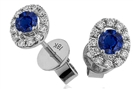 0.65ct VS/EF Round Blue Sapphire Diamond Halo Earrings