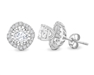 Round Diamond Single Halo Earrings