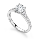 Milrgrain Shoulder Set Diamond Engagement Ring