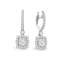 Unique Cushion Diamond Drop Earrings