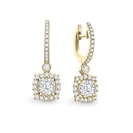 Image for Unique Cushion Diamond Drop Earrings