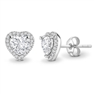 Heart Diamond Single Halo Earrings