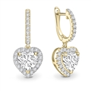 Image for Unique Heart Diamond Drop Earrings