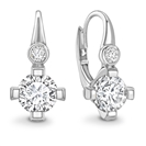 Unique Round Diamond Drop Earrings