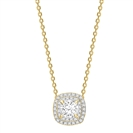 Image for Cushion Shaped Diamond Single Halo Pendant