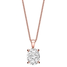 Image for Modern Oval Diamond Solitaire Pendant