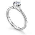 GIA CERTIFIED 1.00CT VS1/E Round Diamond Shoulder Set Ring