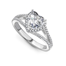 Heart Diamond Single Halo Shoulder Set Ring