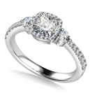 Image for Cushion Diamond Ring With Halo Shoulder Diamonds