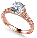Image for Unique Single Round Diamond Vintage Filgree Style Ring