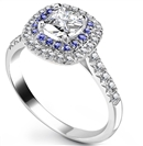 Image for Cushion Diamond & Blue Sapphire Double Halo Shoulder Set Ring