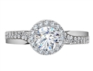 Image for Round Diamond Single Halo Infinity Shoulder Set Ring
