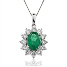 Image for Oval Shaped Emerald & Diamond Pendant