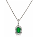 Image for Green Emerald & Diamond Halo Pendant